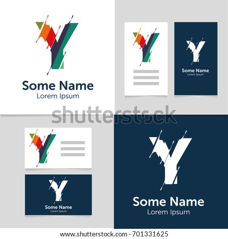 Editable Business Card Template Y Letter Stock Vector Royalty Free
