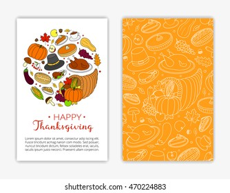 Editable card templates with hand drawn items and text for Thanksgiving day. Used clipping mask.