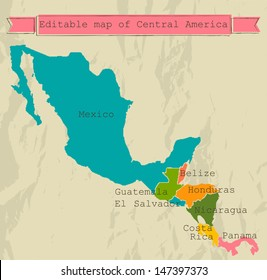 Editable Central America map with all countries. Vector illustration EPS8