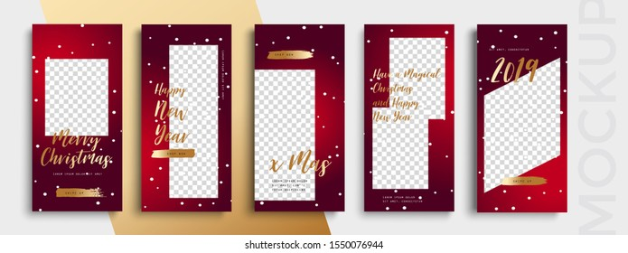Editable Christmas and New Year stories vector template for social media. Instagram