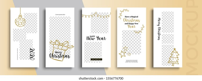 Editable Christmas and New Year stories vector template for social media. Instagram Stories