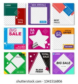 Editable Creative Commercial Banner, Lines Logo Blank. Geometric Full Color Social Networks Template. Special Offers, Big Sale, Total Discounts on Black Friday Template. Bisiness Vector Illustration