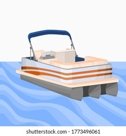 Editable Empty Semi Top Three-Quarter Oblique Front View Detailed American Pontoon Boat on a Wavy Lake Vector Illustration for Transportation or Recreation Related Design