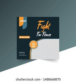 Editable Fitness Post Template Social Media Banners for Digital Marketing. Color Orange black. Discount Web Banner