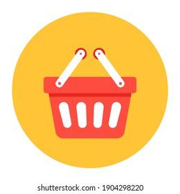 Editable flat rounded design of shopping basket icon
