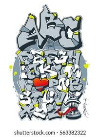 Editable Font In Graffiti Style Vector Illustration