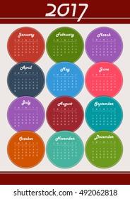 Editable funny 2017 calendar with color circles.