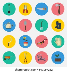 Editable Gardening Icons Set in Flat Style