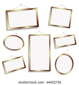 Editable gold empty frames for text or photos, isolated objects over white
