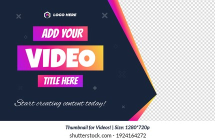 Editable Gradient Video Thumbnail for all platforms gradient fully customizable video thumbnail text is fully editable Editable Premium Vector for videos  cool thumbnails design templates