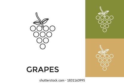 Editable Grapes Thin Line Icon with Title. Useful For Mobile Application, Website, Software and Print Media.