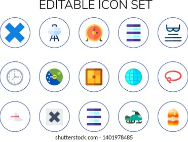 editable icon set. 15 flat editable icons.  Simple modern icons about  - multiply, circular clock, barbacue, christmas island, tatami, justify, world wide web, read, lasso, pamela