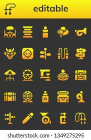 editable icon set. 26 filled editable icons.  Simple modern icons about  - Terrace, Jumping rope, Center alignment, Eye dropper, Pamela, French horn, Hannya, Dohyo, Signpost, Hamster wheel