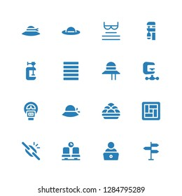 editable icon set. Collection of 16 filled editable icons included Directional sign, Read, Waiting room, Broken link, Tatami, Kanji vadas, Pamela, Parking meter, Clamp, Justify