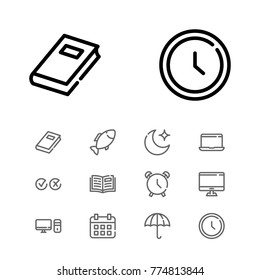 Editable icons set with computer, fish and cross tick elements.Set of textbook, computer clock icons and personal computer concept. Editable vector textbook elements for logo web mobile app UI design.