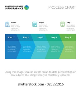 Editable infographic template of process chart, blue and green version