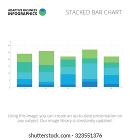 Editable infographic template of stacked bar chart, blue and green version