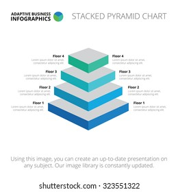Editable infographic template of stacked pyramid chart, blue and light blue version