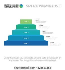 Editable infographic template of stacked pyramid chart, blue and green version
