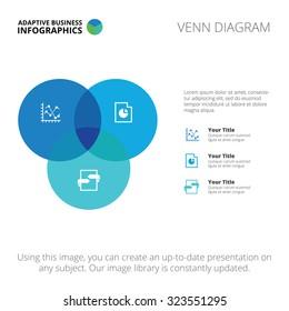 Editable infographic template of Venn diagram, blue and light blue version