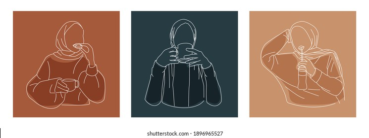 Editable Instagram Highlight Story Cover of Muslim Blogger Drinking Tea and Eating Macaroon in SImple Minimal Line Art Style. Female Hijab Poses for Coffeeshop Activity Concept.