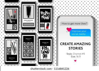Editable Instagram Stories template. Fashion Beauty Blog Create your amazing Stories, set for brands and blogger, modern promotion web banner for social media mobile apps, vector illustration.