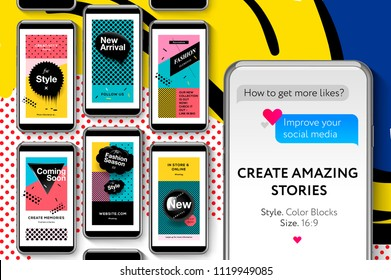Editable Instagram Stories template. Memphis social media templates with geometric elements, Fashion promo banners for online shopping with pop art pattern, style 80 - 90s, vector illustration