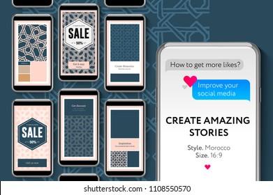 Editable Instagram Stories template. Social media story templates for brands and blogger, modern promotion web banner for social media mobile apps, vector illustration.