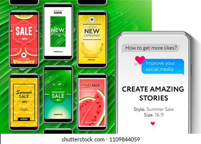 Editable Instagram Stories template. Social media templates Summer sale, create stories for brands and blogger, modern promotion web banner for social media mobile apps, vector illustration.