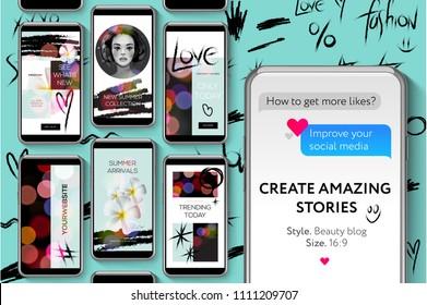 Editable Instagram Stories template. Social media templates, Beauty Blog Stories Bundle for brands and blogger, modern promotion web banner for social media mobile apps, vector illustration.