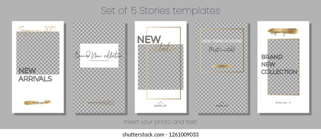 Editable Instagram Stories vector template pack. Spring 2019 social media frames. White and gold Layout for business story (fashion, beauty ets.): new arrival, new collection, sale, announcement.