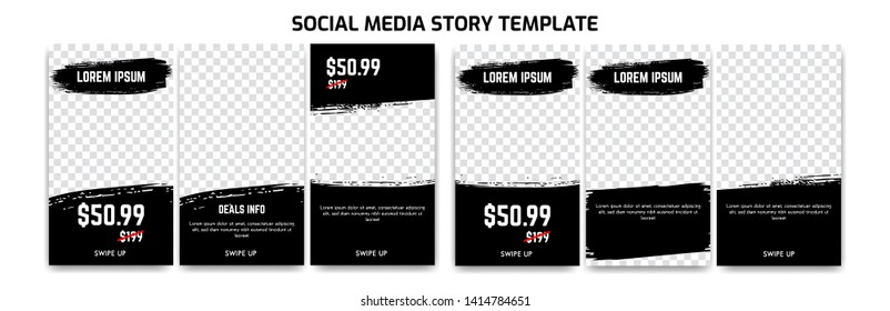 Editable Instagram Story Social Media for sale discount and product promotion with abstract dry brush ink background