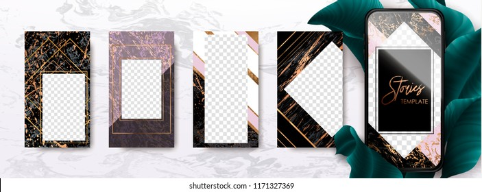 Editable instagram story template pack with gold and marble texture. Trendy kit, social and fashion ads, promotion flyer backgrounds, vector design.
