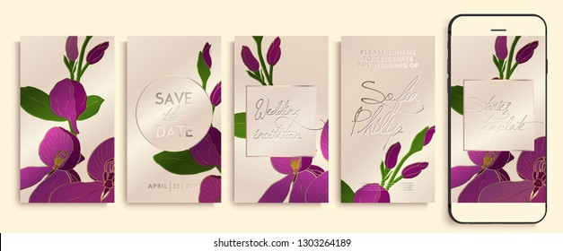 Editable instagram story template pack with orchid flowers and leaves. social media stories wallpapers. Wedding invitation with rose and gold orchids, leaves. instagram layout