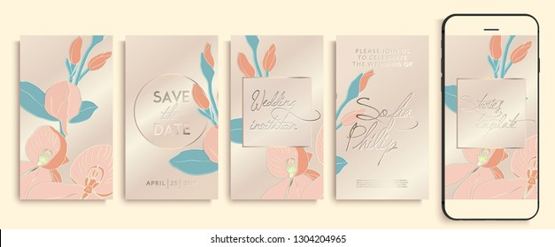 Editable instagram story template pack with orchid flowers and leaves. social media stories wallpapers. Wedding invitation with rose and gold orchids, leaves. insta stories templates. 1i