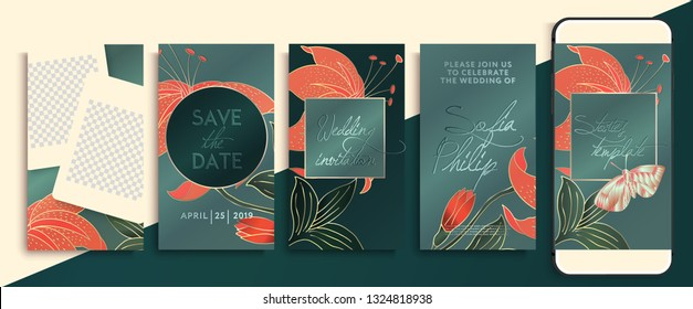 Editable Instagram story template pack with flowers and leaves. social media stories wallpapers. Wedding invitation with coral and gold flowers, leaves and  butterfly