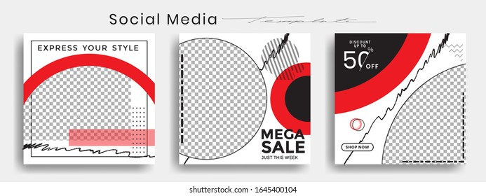 Editable instagram template. Facebook story and post frame. Layout design for marketing promotion. Cover. Set of sale banner template. Social network background. Square puzzles. vector illustration.