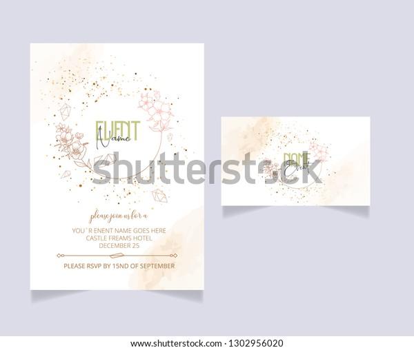 Editable Invitation Card Design Text Dividers Stock Vector