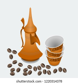 Editable Isolated Arabian Dallah Coffee Pot and Finjan Cups with Roasted Beans Vector Illustration