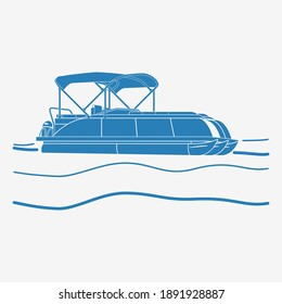 Editable Isolated Flat Monochrome Style Pontoon Boat on Wavy Water Vector Illustration with Blue Color and Semi-Oblique Side View for Artwork Element of Transportation or Recreation Related Design