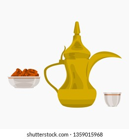 Editable Isolated on White Background Side View Arab Coffee and Date Palm Fruits Vector Illustration