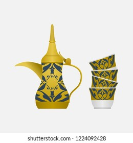 Editable Isolated Side View Arabian Dallah Coffee Pot and Finjan Cups Stack Vector Illustration