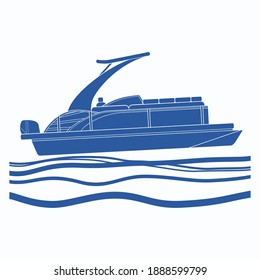 Editable Isolated Side View Sport Arch Pontoon Boat on Wavy Water Vector Illustration with Blue Color in Flat Monochrome Style for Artwork Element of Transportation or Recreation Related Design