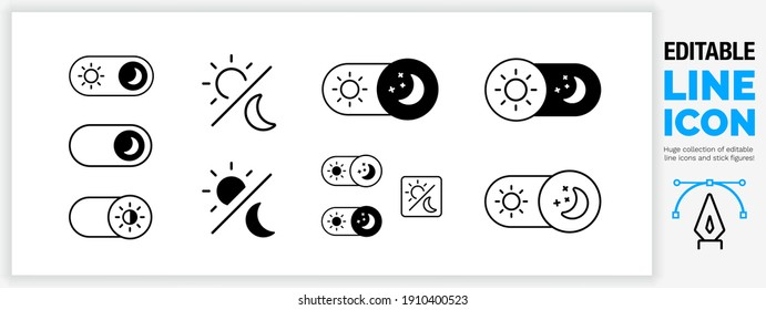 Editable line icon set in a black stroke weight in outline and a filled shape used to select darkmode or night brightness in the settings of a smart mobile device with a moon and a sun in eps vector
