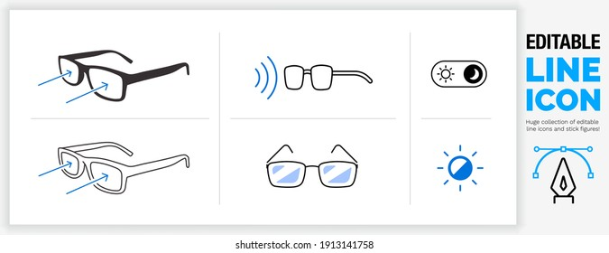 Editable line icon set in a black outline stroke weight and flat fill style about bluelight filter glasses to reflect harmful computer or mobile device  screen light shining in your eye in eps vector