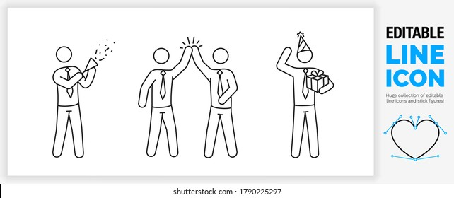Editable line icon set of stick figure work people who celebrate success in the office with a party popper, high five and birthday present with the character in tie and full body view as eps vector