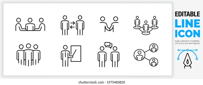 Editable line outline character icon set. Team office working together on a project as a networking player. Professional corporate people talking and communicating together, black stroke eps vector