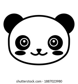 editable line, stroke, panda face. Hand Drawn vector illustration character. cute pet animal. Doodle cartoon style. Funny baby kids print. Outline symbol. Isolated vector illustration. Kawaii animal.