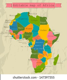 Editable map of Africa with all countries. Vector illustration EPS8