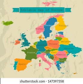 Editable map of Europe with all countries. Vector illustration EPS8